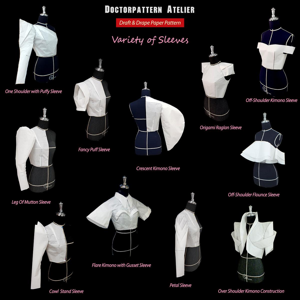 ผลงานการสร้างแพทเทิร์นแขนเสื้อรูปแบบต่างๆ