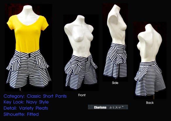 ผลงานการสร้างแพทเทิร์นกางเกงยีนส์ขาสั้นสตรีขอบโค้งจีบระบาย