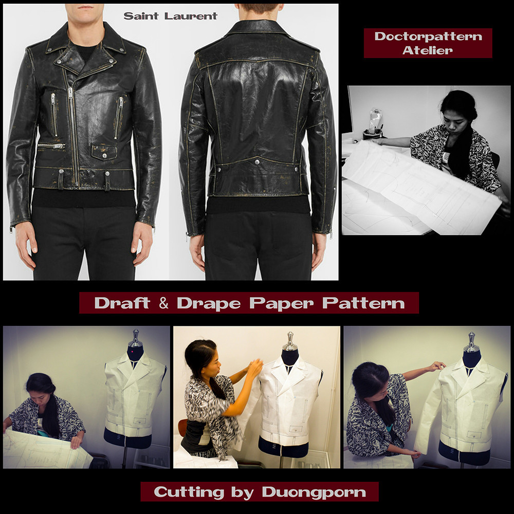 ผลงานแพทเทิร์นผู้เรียน เสื้อแจ็คเก็ตมอเตอร์ไซค์ตกแต่งซิป