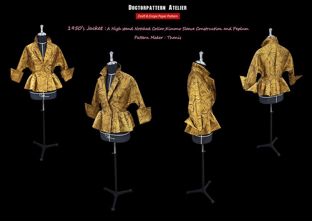 ผลงานการสร้างแพทเทิร์นเสื้อสตรีแขนกิโมโนปกซาฟารีตั้ง ยุคค.ศ.1940