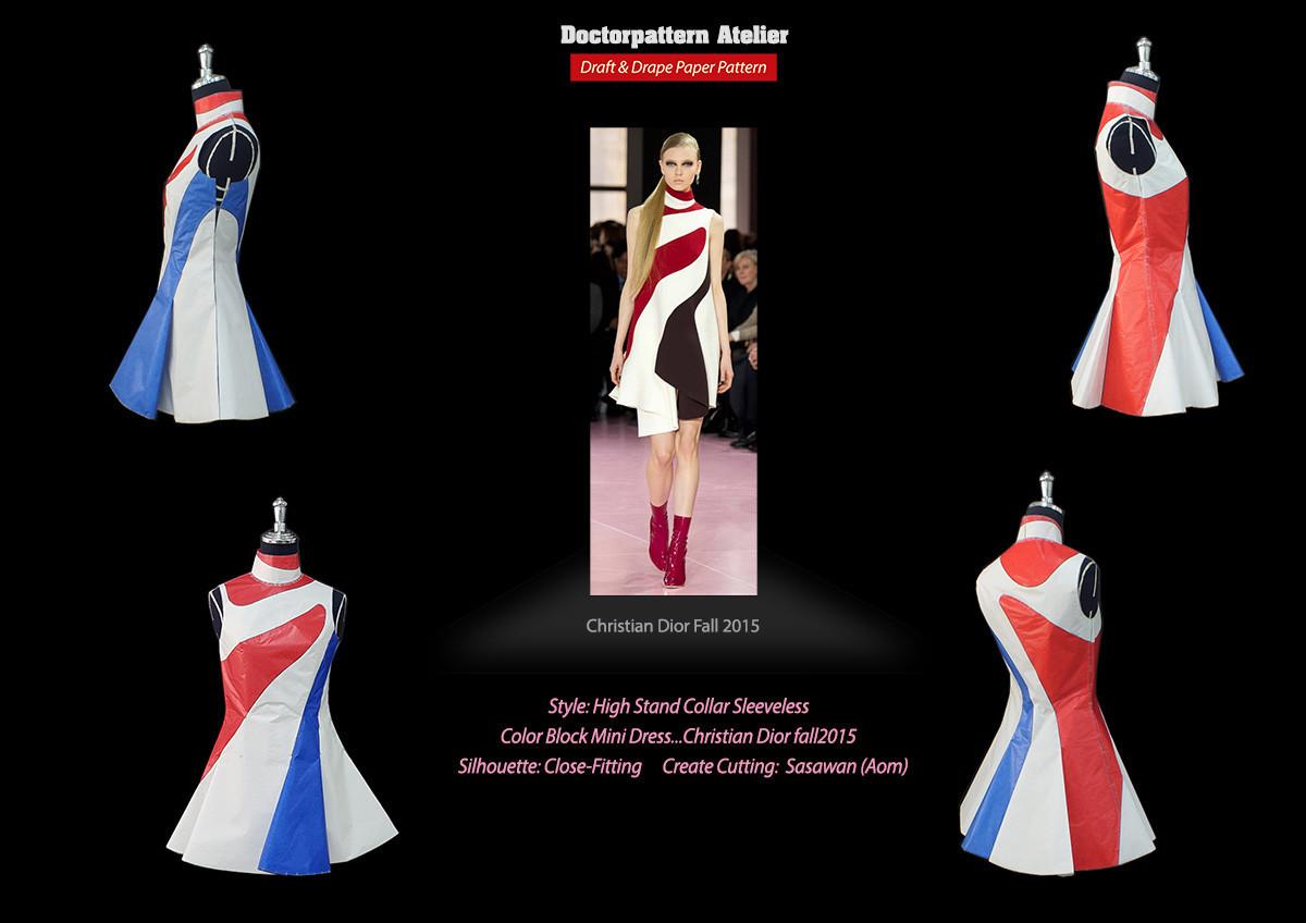 ผลงานการสร้างแพทเทิร์นชุดแซคแขนกุดตัดต่อแถบสี ออกแบบโดบแบรนด์ Christian Dior Fall 2015