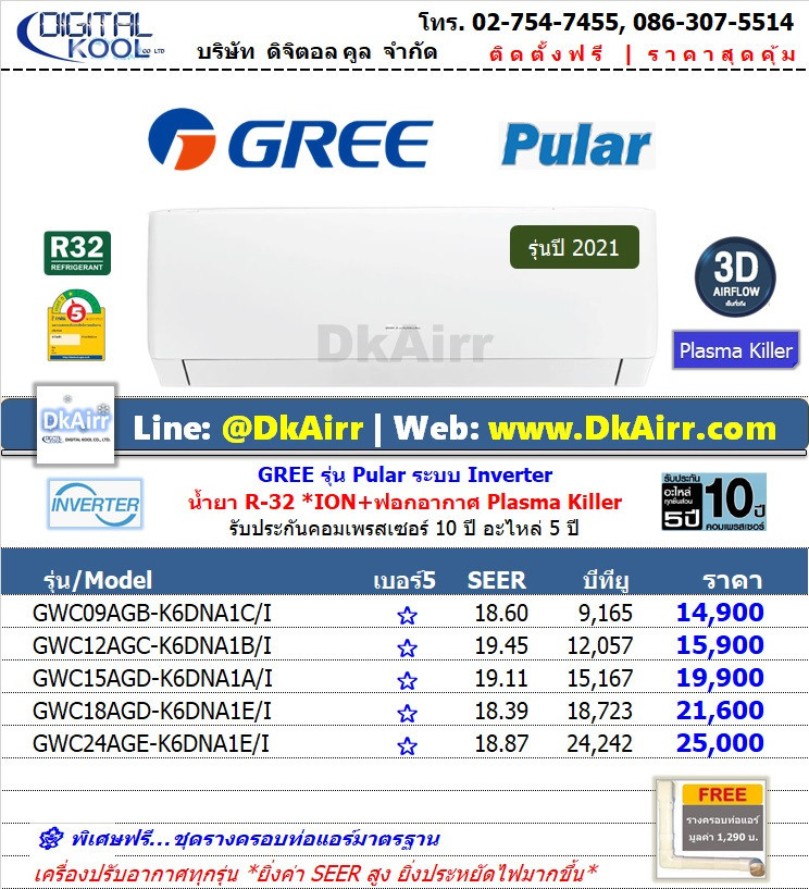 Gree รุ่น GWC AG (Pular Inverter) แอร์ผนัง เบอร์5 (R32) ปี2021