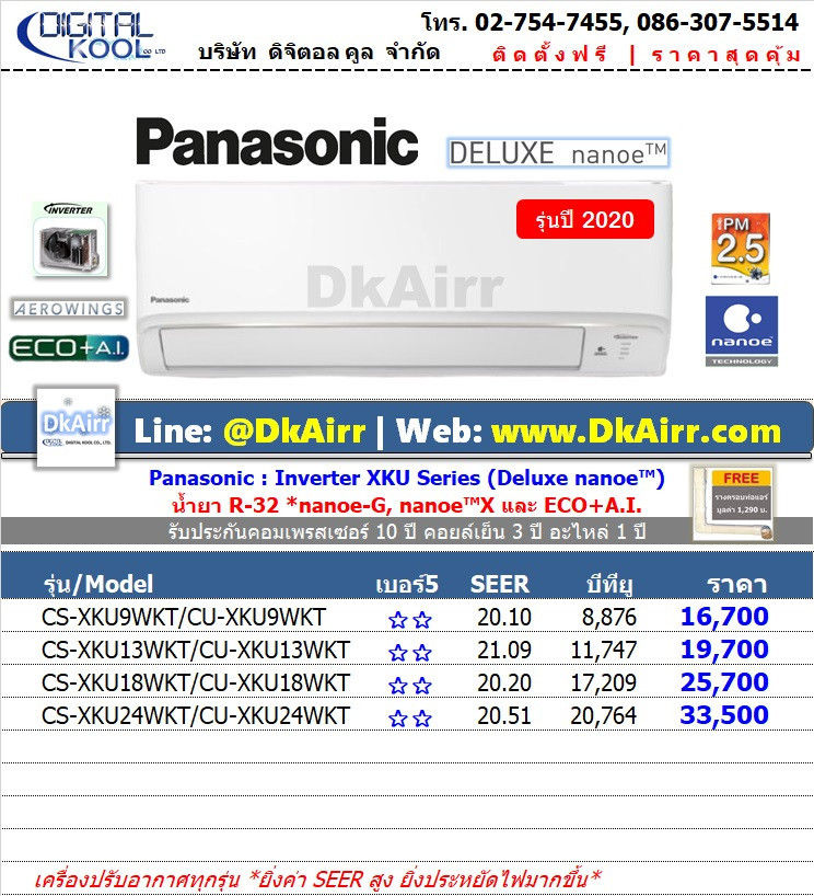 Panasonic รุ่น CS-XKU WKT (Deluxe nanoe™ Inverter) แอร์ผนัง เบอร์5 (R32) ปี2020