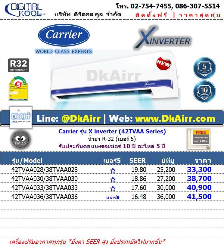 Carrier รุ่น 42TVAA025-36 (X.Inverter) แอร์ติดผนัง เบอร์5 (R32) รุ่นปี 2020