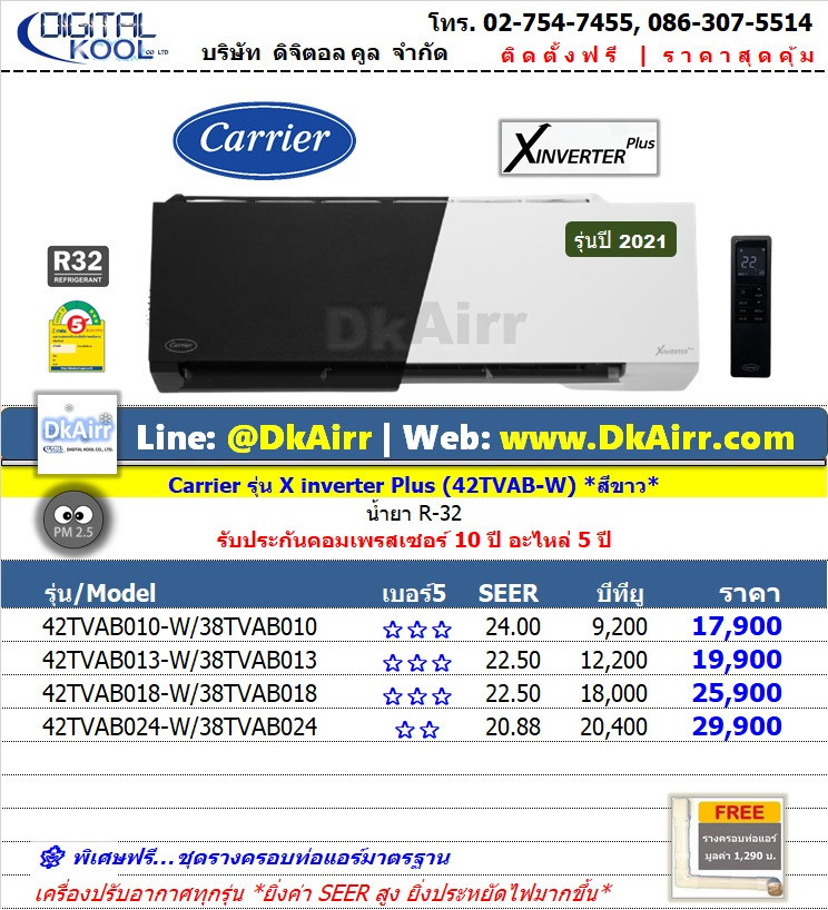 Carrier รุ่น 42TVAB-W(B) (X.Inverter Plus) แอร์ผนัง เบอร์5 (R32) รุ่นปี 2021