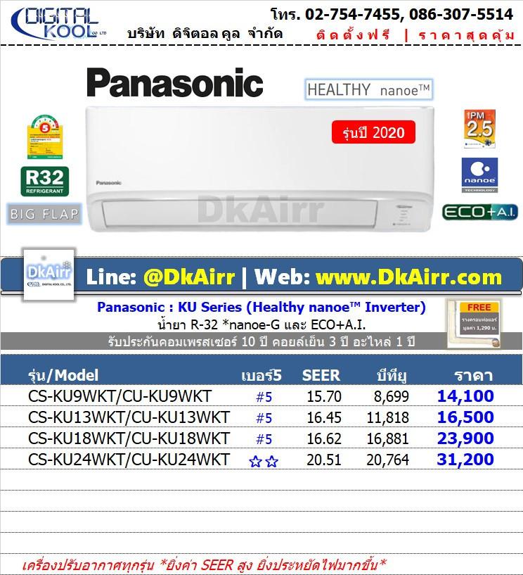 Panasonic รุ่น CS-KU WKT (Healthy nanoe™ Inverter) แอร์ผนัง เบอร์5 (R32) ปี2020
