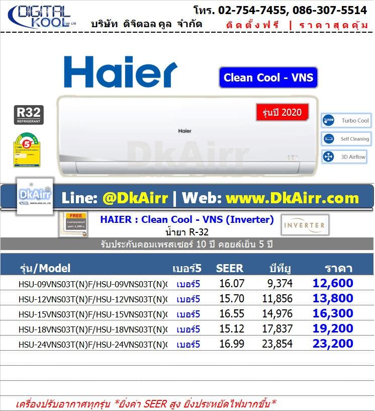 Haier รุ่น HSU-VNS (Clean Cool-VNS) แอร์ผนัง Inverter เบอร์5 (R32) ปี2020