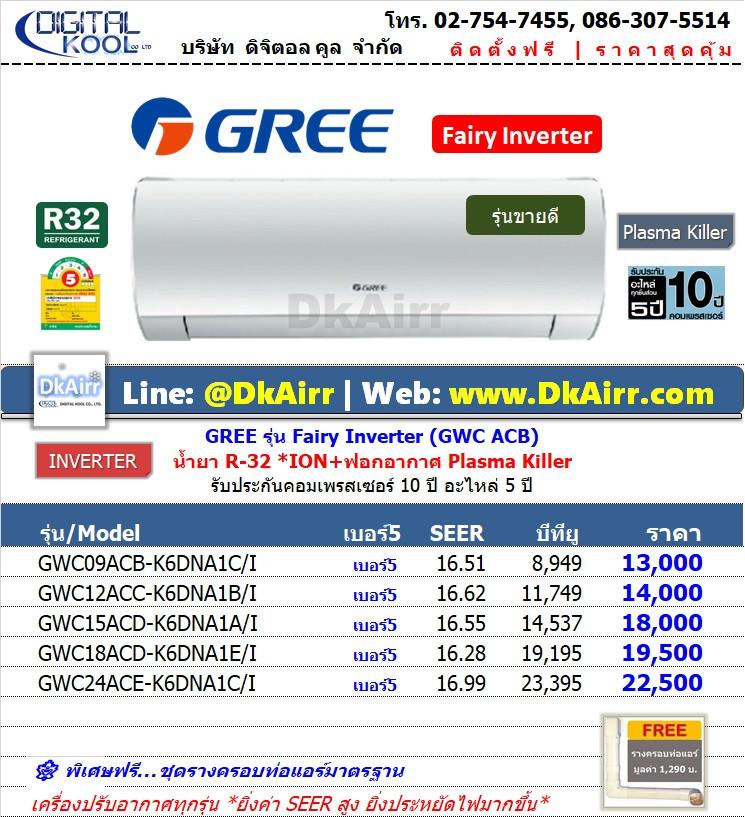 Gree รุ่น GWC ACC-K6DNA1CI (Fairy Inverter) แอร์ผนัง Inverter เบอร์5 (R32) ปี2020