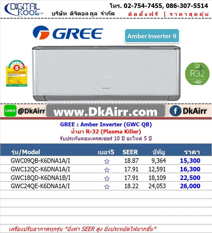 Gree รุ่น GWC QB แอร์ผนัง (Amber Inverter II) เบอร์5 (R32) 2019