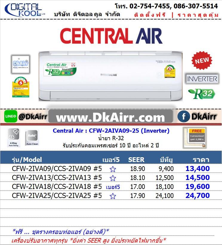 Central Air รุ่น CFW-2IVA แอร์ผนัง (2IVA Series) Inverter เบอร์5 (R32) ปี2019