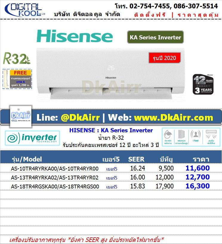 Hisense รุ่น KA Series แอร์ผนัง Inverter เบอร์5 (R32) ปี2020