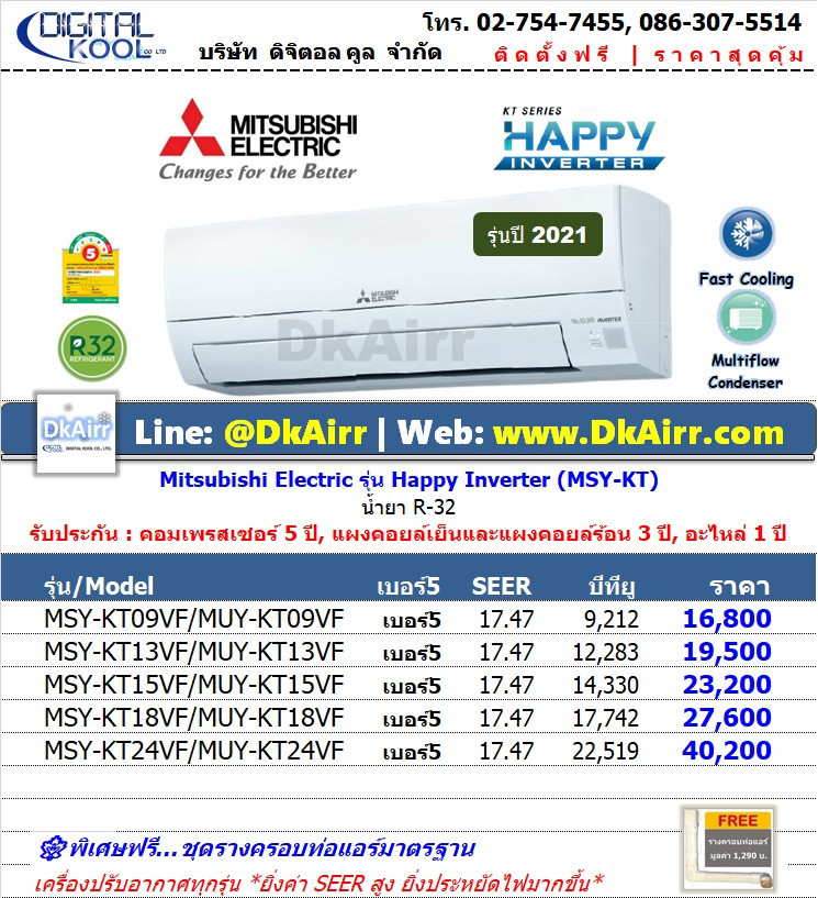Mitsubishi Electric รุ่น MSY-KT (Happy Inverter) แอร์ผนัง เบอร์5 (R32) ปี2021