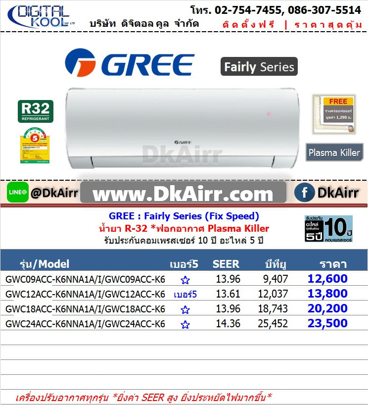 Gree รุ่น GWC ACC-K6NNA1AI (Fairly) แอร์ผนัง Fix speed เบอร์5 (R32) ปี2020