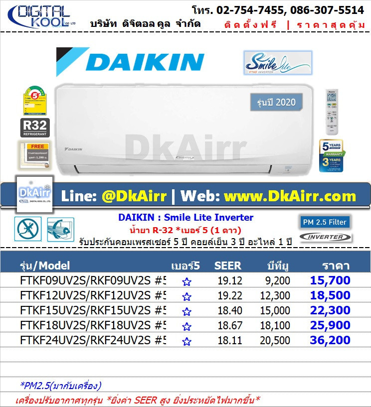 Daikin รุ่น FTKF-UV2S (Smilte Lite) แอร์ผนัง Inverter เบอร์5 (R32) ปี2020