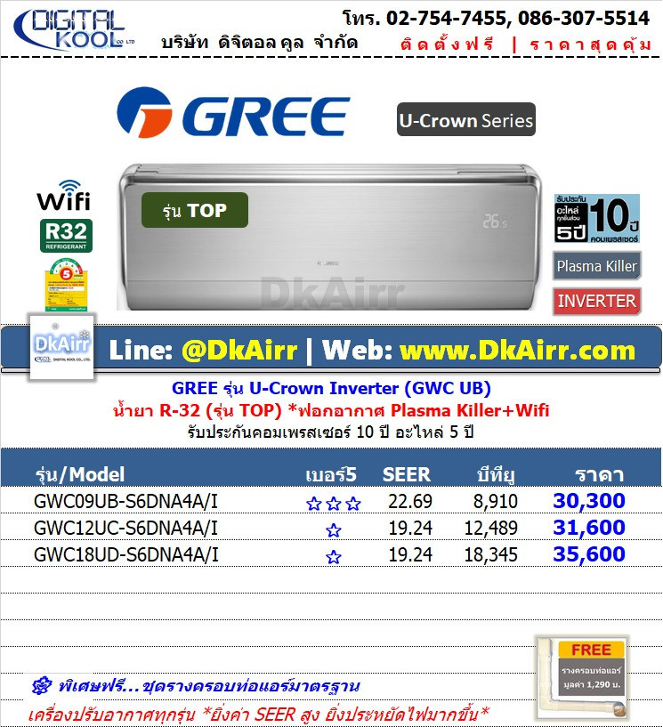 Gree รุ่น GWC S6NA4AI (U-Crown Inverter ll) แอร์ผนัง Inverter เบอร์5 (R32) ปี2019
